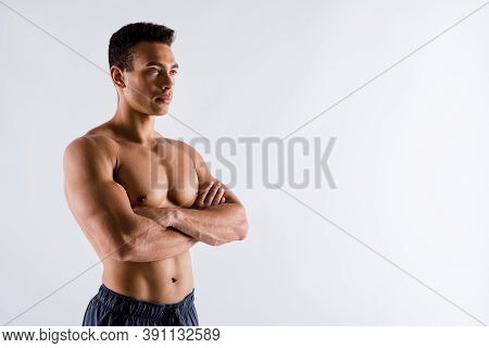 Profile Side View Portrait Of His He Nice Attractive Powerful Strong Content Tanned Guy Ripped Shape