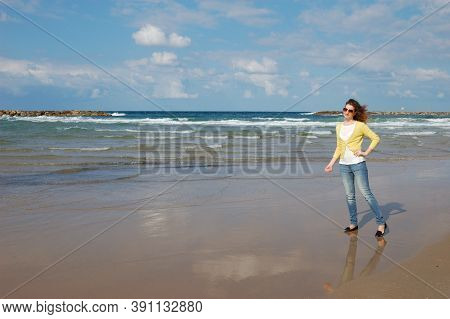 Young Girl, Curly, Sea Vacation, Beach Tourism Waves Wind