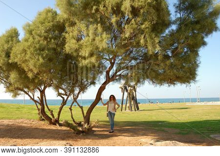 Girl In Jeans, Spreading Green Tree, On Vacation By The Sea, Tourism