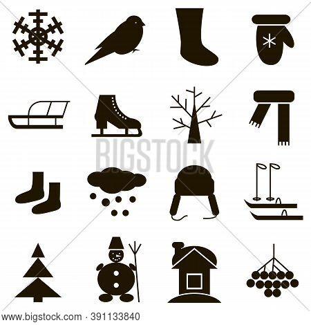 Black Icons On White Background Winter Simbol