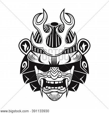 Japanese Samurai With Black Mask. Japan Warrior Flat Image. Vintage Vector Illustration. Military Ar
