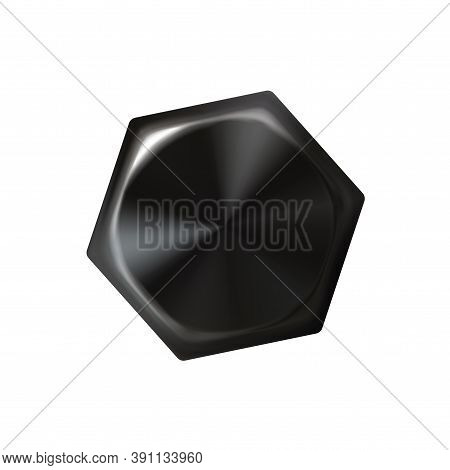 Bluing Metal Realistic Bolt Head, Black Screw Cap. Twisted In Surface Object Isolated On White Backg