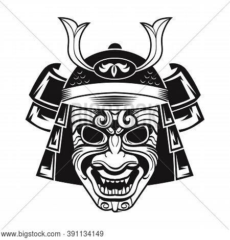 Japanese Fighter In Black Mask. Japan Traditional Warrior. Vintage Isolated Vector Illustration. Mil