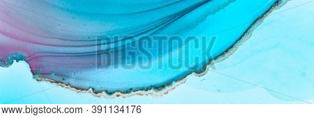 Abstract Teal Wallpaper. Alcohol Ink Illustration. Blue Water Art Pattern. Sophisticated Flow Paint.