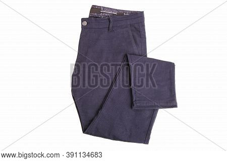 Blue Men's Trousers Isolated On A White Background.