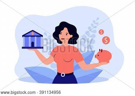 Woman Choosing Between Bank And Piggybank Flat Vector Illustration. Cartoon Lady Thinking About Mone