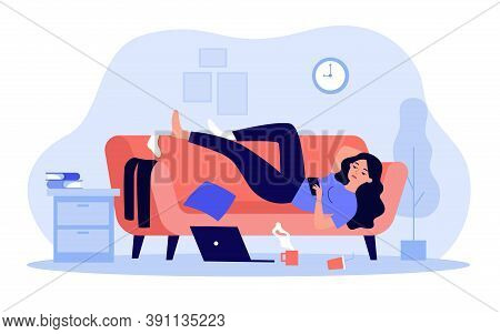 Depressed Woman Lying On Couch In Messy Room Isolated Flat Vector Illustration. Cartoon Lazy Charact