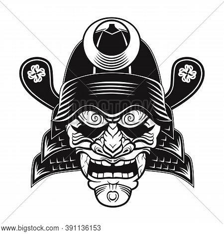 Japanese Samurai Black Mask Flat Image. Japan Traditional Vintage Warrior Or Fighter Clipart Isolate