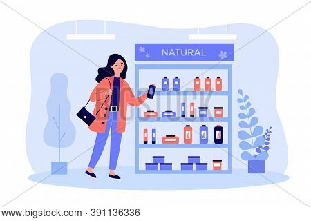 Cosmetic Buyer Choosing Skincare Cream Flat Vector Illustration. Cartoon Woman Standing In Shop And
