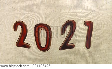 Distorted Deformed Figures Of  New Year 2021,  Blurry Shape , Concept Of Suspense And Uncertainty