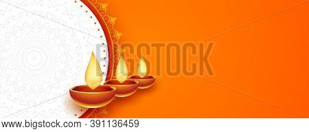 Happy Diwali Orange Diya Banner With Text Space