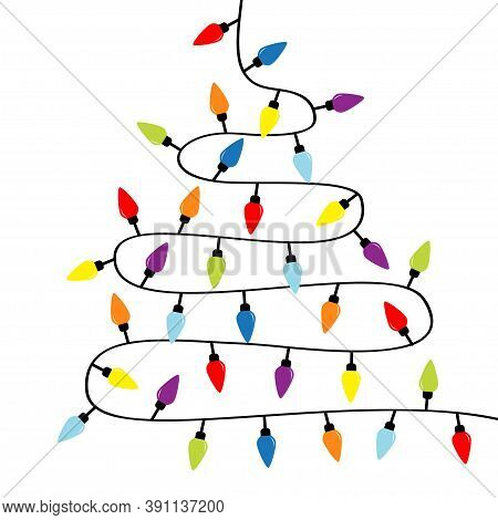 Christmas Lights. Lightbulb Glowing Garland. Colorful String Fairy Light Set. Fir Tree Triangle Shap