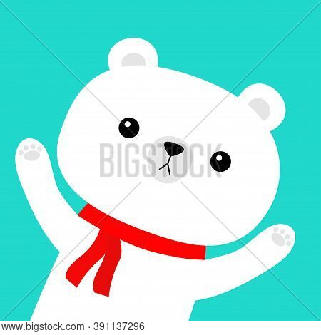 Polar White Bear In Red Scarf. Merry Christmas. Hello Winter. Cute Cartoon Kawaii Baby Character. Ha
