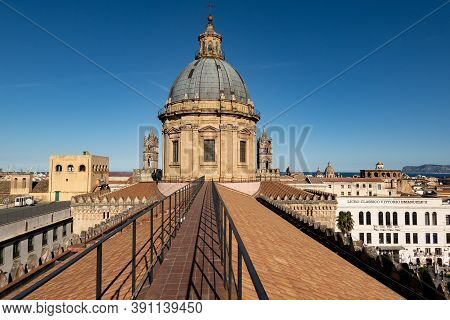 Palermo, Sicily - February 8, 2020: The Roof, Pathway With Railing And Cupola Of Palermo Cathedral W
