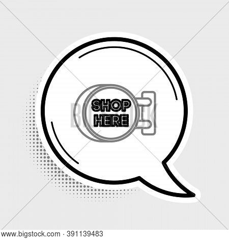 Line Signboard Hanging With An Inscription Shop Here Icon Isolated On Grey Background. Suitable For