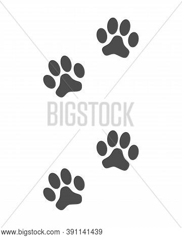 Prints Paws Dog Graphic Sign. Animal Footprints Icon Isolated On White Background. Vector Illustrati