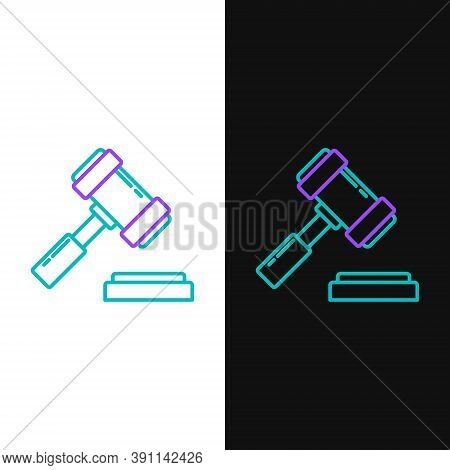 Line Judge Gavel Icon Isolated On White And Black Background. Gavel For Adjudication Of Sentences An