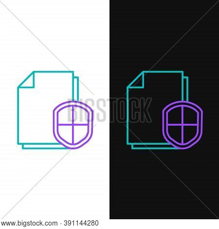 Line Document Protection Concept Icon Isolated On White And Black Background. Confidential Informati