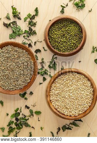 View From Above On Mung Beans, Rye Seeds And Pearl Grits, As Well As Grass Melissa