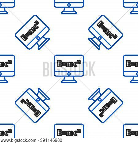 Line Math System Of Equation Solution On Computer Monitor Icon Isolated Seamless Pattern On White Ba
