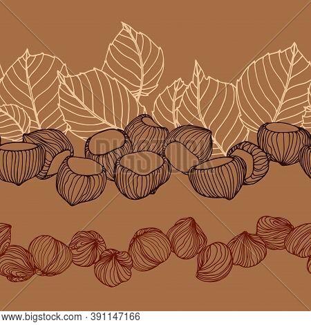 Horizontal Seamless Pattern Of A Set Of Hazelnuts, Leaves & Kernels, For Menu Design Or Confectioner