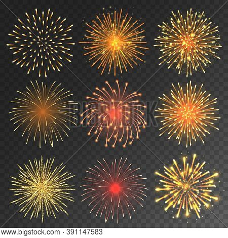 Festive Fireworks Collection. Realistic Colorful Firework On Transparent Background. Christmas Or Ne