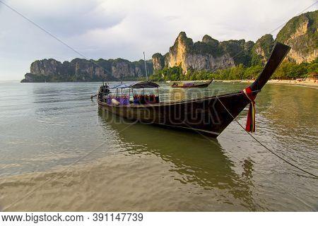Boat In Beautiful Railay Beach In Krabi Province, Thailand