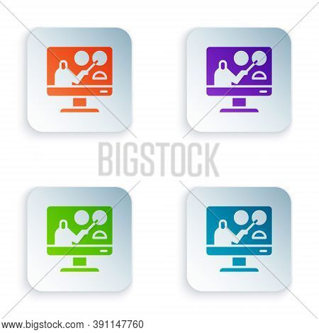 Color Online Education And Graduation Icon Isolated On White Background. Online Teacher On Monitor.