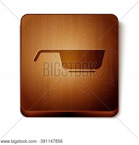 Brown Frying Pan Icon Isolated On White Background. Fry Or Roast Food Symbol. Wooden Square Button.