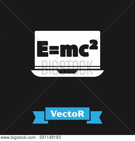White Math System Of Equation Solution On Laptop Icon Isolated On Black Background. E Equals Mc Squa
