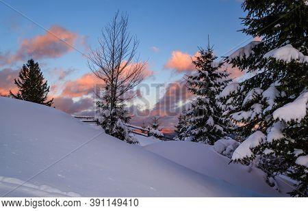 Alpine Village Outskirts In Last Evening Sunset Sun Light. Winter Snowy Hills And Fir Trees.