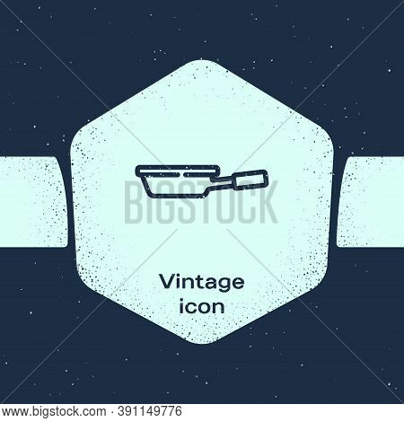 Grunge Line Frying Pan Icon Isolated On Blue Background. Fry Or Roast Food Symbol. Monochrome Vintag