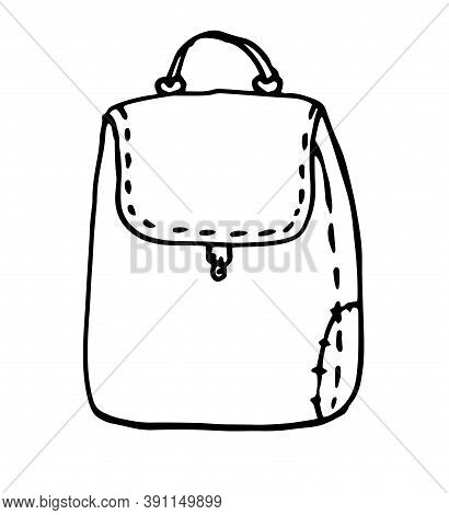 Hand Drawn Vector Sketch Doodle Backpacks. Casual Backpack, Fashion Backpack. Vector Illustration Bl