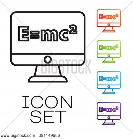 Black Line Math System Of Equation Solution On Computer Monitor Icon Isolated On White Background. E