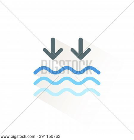 Low Tide. Waves On The Sea. Isolated Icon. Weather Glyph Vector Illustration