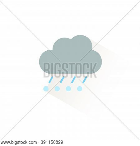 Rain, Hail And Cloud. Isolated Color Icon. Weather Glyph Vector Illustration