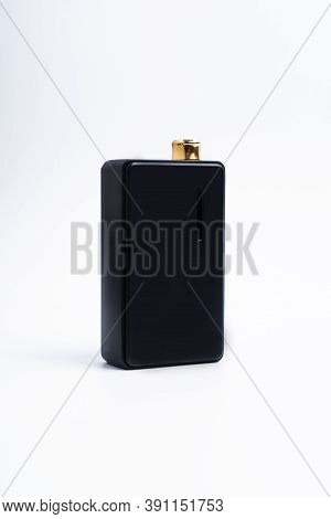 Vapes On A White Background. The Concept Of Vaping. Vape Shop. Smoking Electronic Cigarettes. Sale O