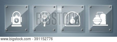 Set Oil And Gas Industrial Factory Building, Motor Gas Gauge, Motor Gas Gauge And Petrol Or Gas Stat