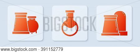 Set Test Tube And Flask, Oil And Gas Industrial Factory Building And Oil And Gas Industrial Factory