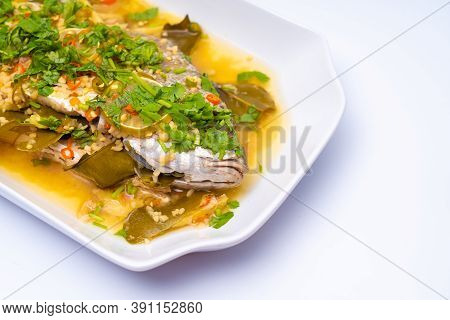 Close-up Shot Of Ikan Siakap (scientific Name: Lates Calcarifer) A Typical Asian Cuisine Food. Isola