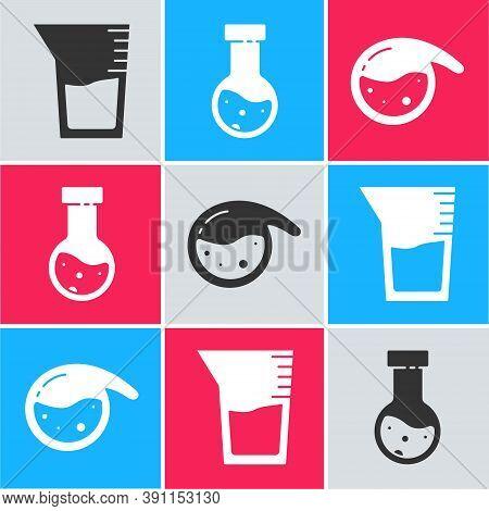 Set Laboratory Glassware Or Beaker, Test Tube And Flask Chemical And Test Tube And Flask Chemical Ic