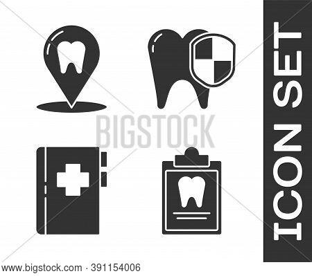 Set Clipboard With Dental Card, Dental Clinic Location, Clipboard With Dental Card And Dental Protec