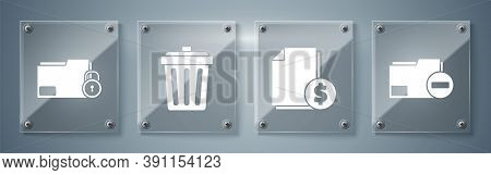 Set Document Folder With Minus, Finance Document, Trash Can And Folder And Lock. Square Glass Panels