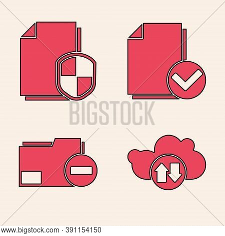 Set Cloud Download And Upload, Document Protection Concept, Document And Check Mark And Document Fol