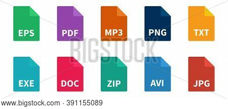 File Types Color Icon Set. Document Format Collection. Vector Illustration.
