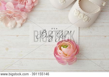 close-up of baby shoes. Baby girl birth accessories. greeting card with copy space for text