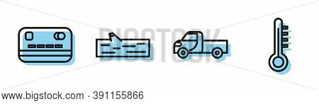 Set Line Pickup Truck, Credit Card, Wooden Log And Meteorology Thermometer Icon. Vector