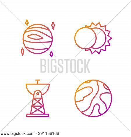 Set Line Falling Stars, Satellite Dish, Planet Venus And Eclipse Of The Sun. Gradient Color Icons. V