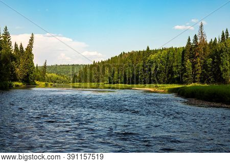 Beautiful North River Usva, Ural Mountains, Perm Region, Russia. Blue Water, Green Forests, Shores A