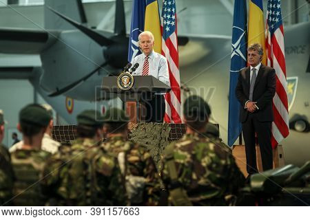 Otopeni, Romania - May 20, 2014: Us Vice President Joe Biden Addresses Romanian And Us Soldiers At O